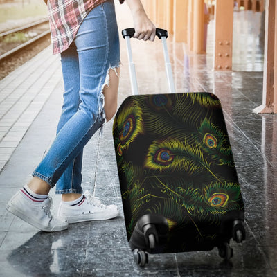 Peacock Feather Pattern Design Print Luggage Cover Protector