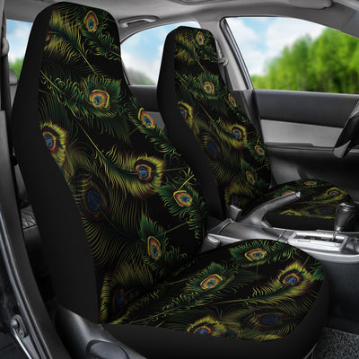 Peacock Feather Pattern Design Print Universal Fit Car Seat Covers