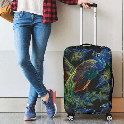 Peacock Themed Design Print Luggage Cover Protector