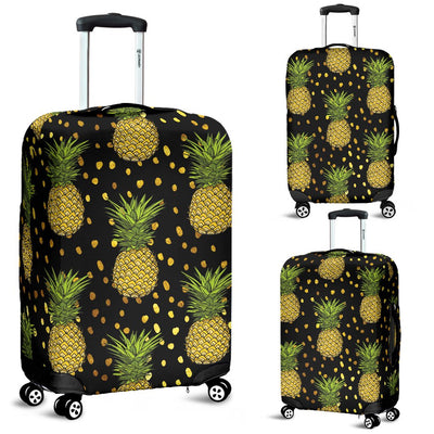 Pineapple Gold Dot Themed Print Luggage Cover Protector