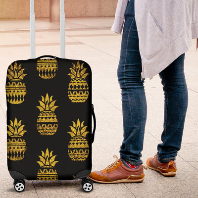 Pineapple Gold Tribal Style Print Luggage Cover Protector