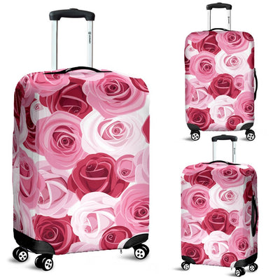 Pink Red Rose Pattern Print Luggage Cover Protector