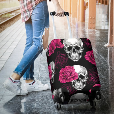 Pink Rose Skull Themed Print Luggage Cover Protector