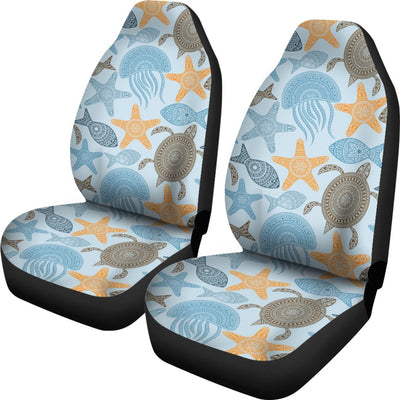 Polynesian Jellyfish Turtle Print Universal Fit Car Seat Covers