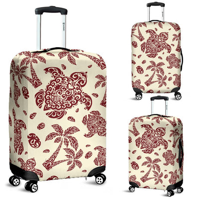 Polynesian Tattoo Turtle Themed Luggage Cover Protector