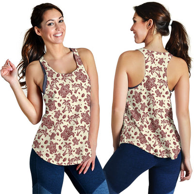 Polynesian Tattoo Turtle Themed Women Racerback Tank Top