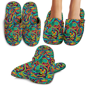 Psychedelic Trippy Floral Design House Slippers