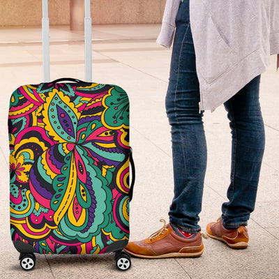 Psychedelic Trippy Floral Design Luggage Cover Protector