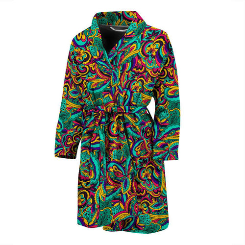 Psychedelic Trippy Floral Design Men Bath Robe-JTAMIGO.COM