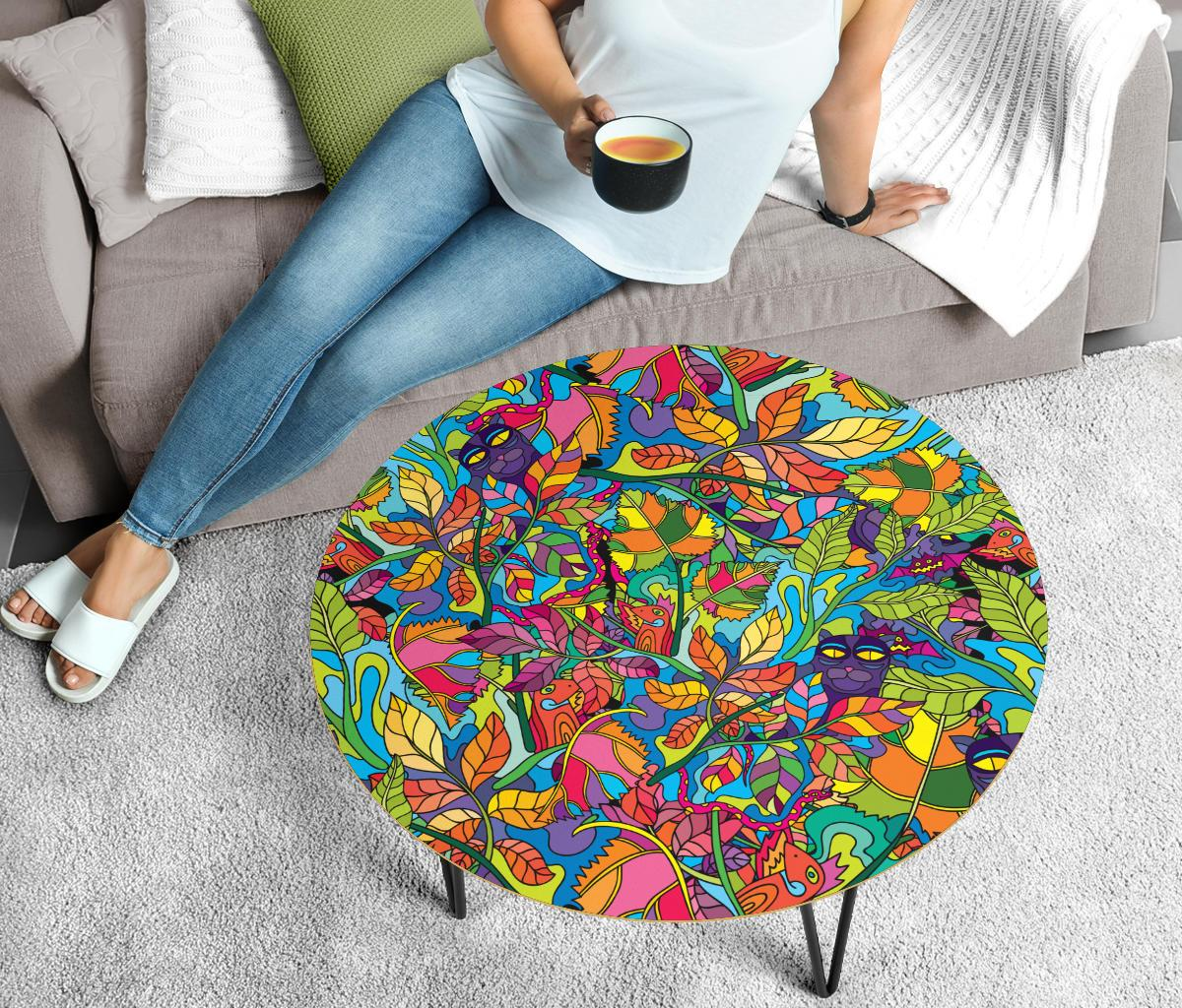 Psychedelic Trippy Flower Print Circle Coffee Table