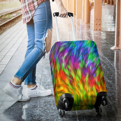 Rainbow Fur Design Print Luggage Cover Protector