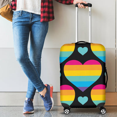 Rainbow Heart Print Pattern Luggage Cover Protector