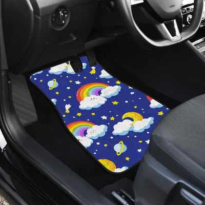 Rainbow Space Design Print Car Floor Mats