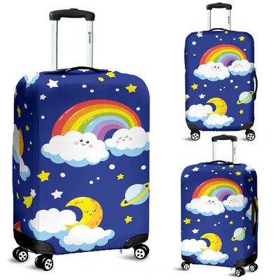 Rainbow Space Design Print Luggage Cover Protector