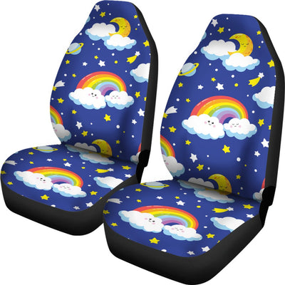 Rainbow Space Design Print Universal Fit Car Seat Covers