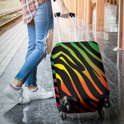 Rainbow Zebra Themed Print Luggage Cover Protector