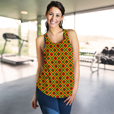 Rasta Reggae Color Cross Women Racerback Tank Top
