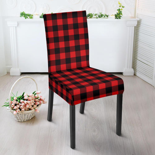 Red Black Buffalo Tartan Plaid Pattern Dining Chair Slipcover-JTAMIGO.COM