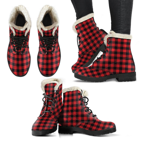 Red Black Buffalo Tartan Plaid Pattern Faux Fur Leather Boots-JTAMIGO.COM