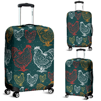 Rooster Hand Draw Design Luggage Cover Protector