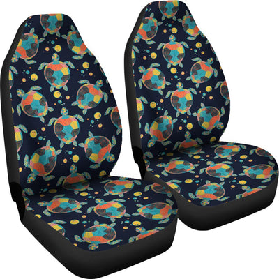 Sea Turtle Colorful with bubble Print Universal Fit Car Seat Covers