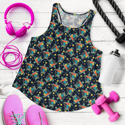 Sea Turtle Colorful With Bubble Print Women Racerback Tank Top
