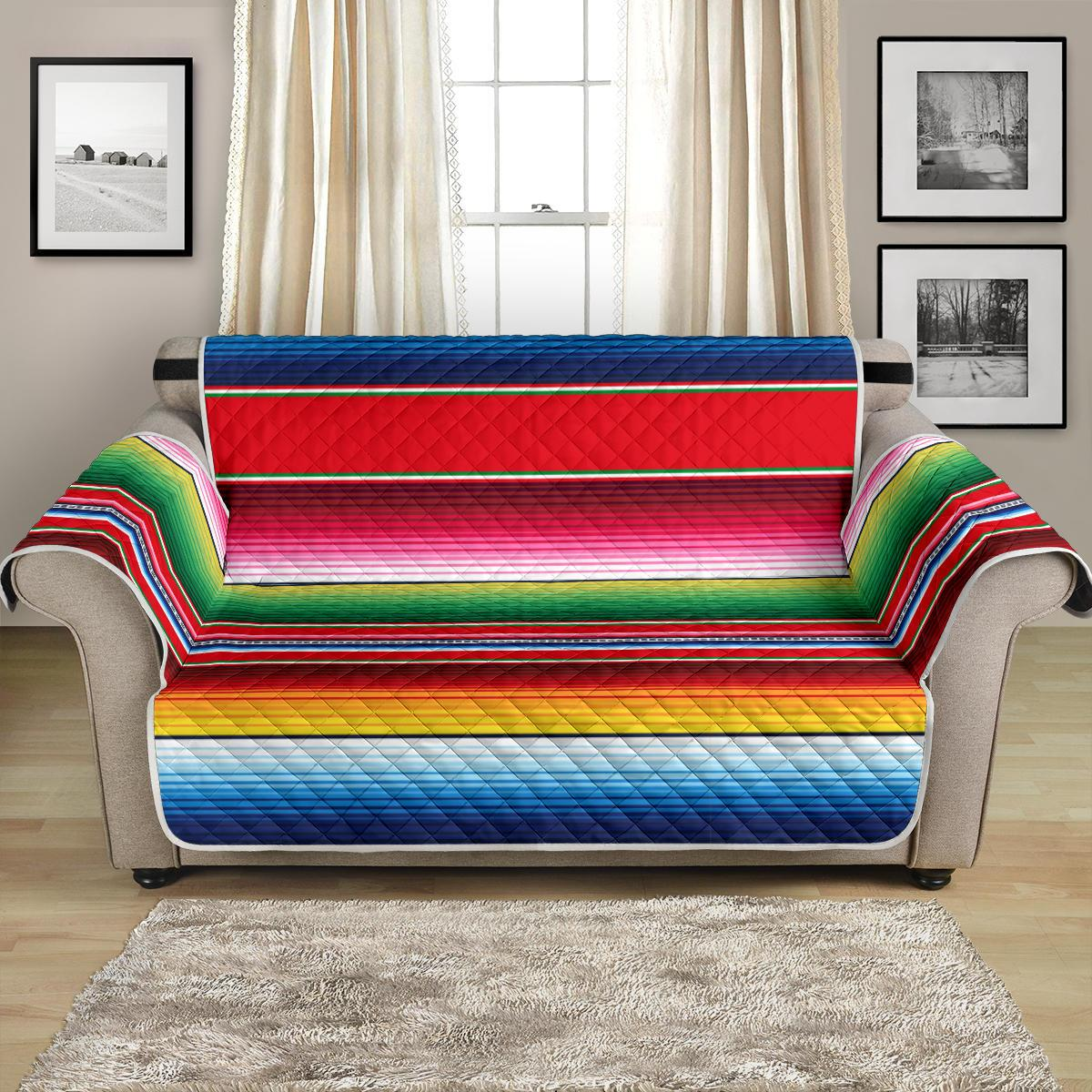 Serape Pattern Loveseat Couch Cover Protector