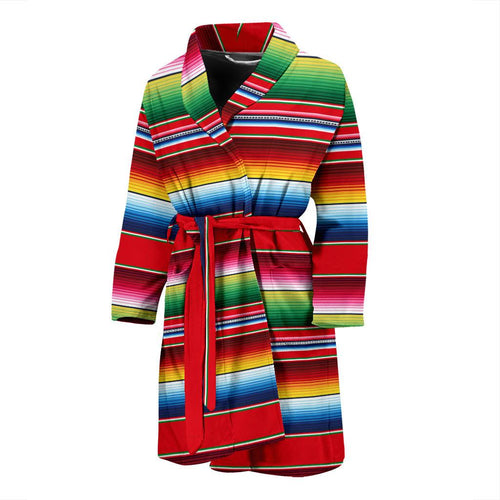 Serape Pattern Men Bath Robe-JTAMIGO.COM
