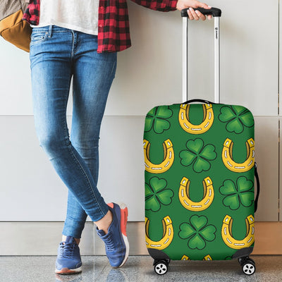 Shamrock Horseshoes Print Pattern Luggage Cover Protector