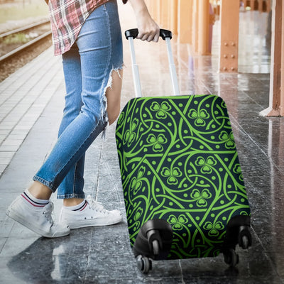 Shamrock Themed Print Luggage Cover Protector