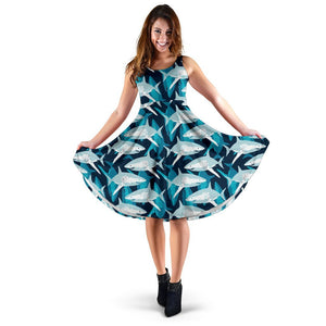 Shark Design Print Sleeveless Dress