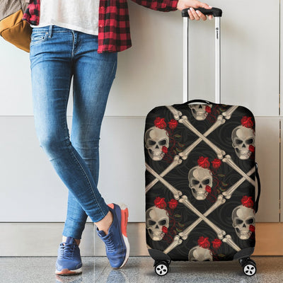 Skull Roses Bone Design Themed Print Luggage Cover Protector