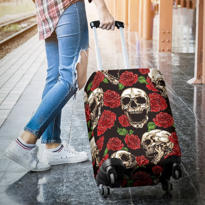Skull Roses Design Themed Print Luggage Cover Protector