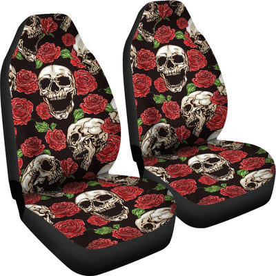 Skull Roses Design Themed Print Universal Fit Car Seat Covers