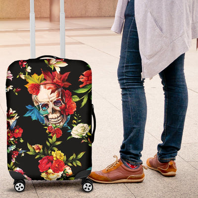 Skull Roses Flower Design Themed Print Luggage Cover Protector