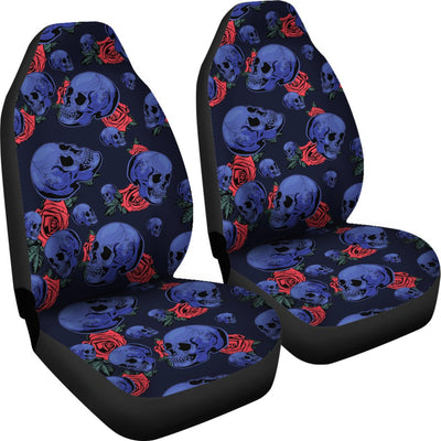 Skull Roses Neon Design Themed Print Universal Fit Car Seat Covers