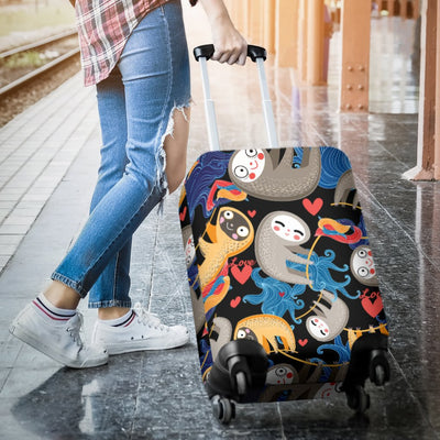 Sloth Cartoon Design Themed Print Luggage Cover Protector