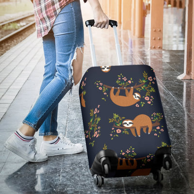 Sloth flower Design Themed Print Luggage Cover Protector