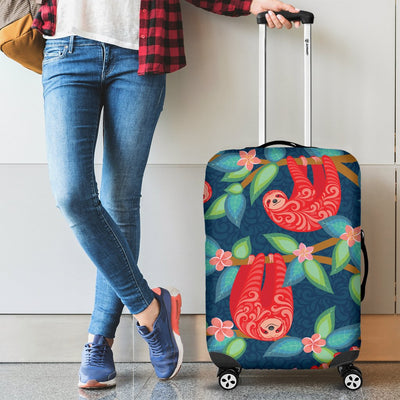 Sloth Red Design Themed Print Luggage Cover Protector