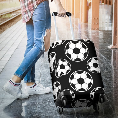 Soccer Ball Black Print Pattern Luggage Cover Protector