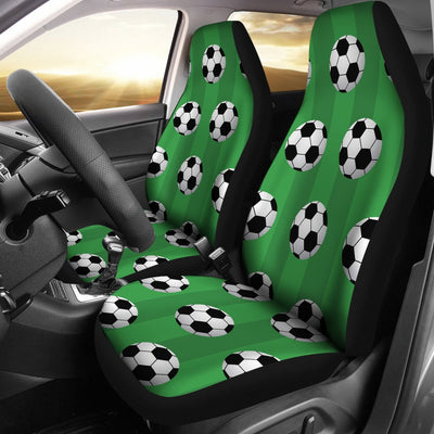 Soccer Ball Green Backgrpund Print Universal Fit Car Seat Covers