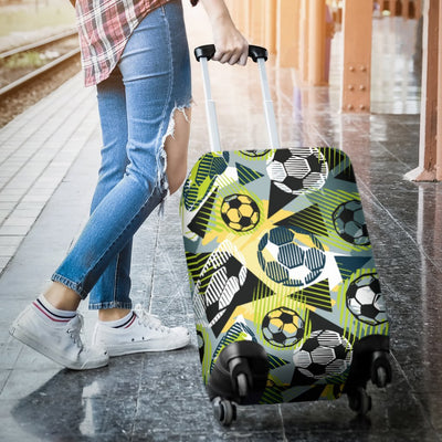 Soccer Ball Themed Print Pattern Luggage Cover Protector