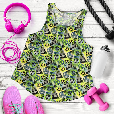 Soccer Ball Themed Print Pattern Women Racerback Tank Top
