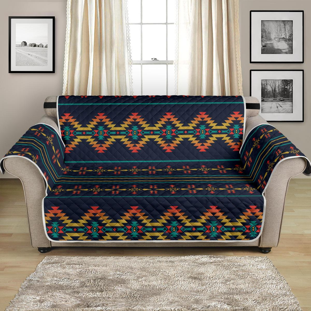 Southwest American Design Themed Print Loveseat Couch Cover Protector