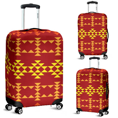 Southwest Red Gold Design Themed Print Luggage Cover Protector