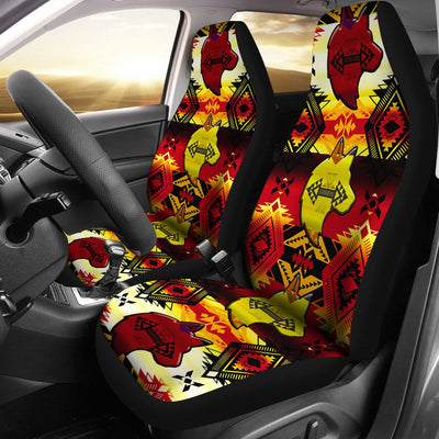 Sovereign Nation Fire with Wolf Design No1 Print Universal Fit Car Seat Covers