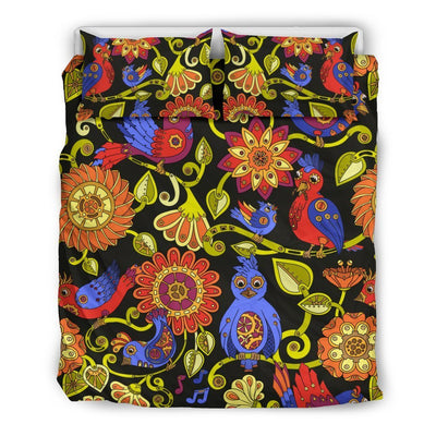 Steampunk Bird Design Themed Print Duvet Cover Bedding Set