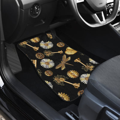 Steampunk Dragonfly Design Themed Print Car Floor Mats