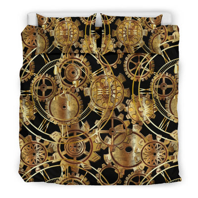 Steampunk Gear Design Themed Print Duvet Cover Bedding Set