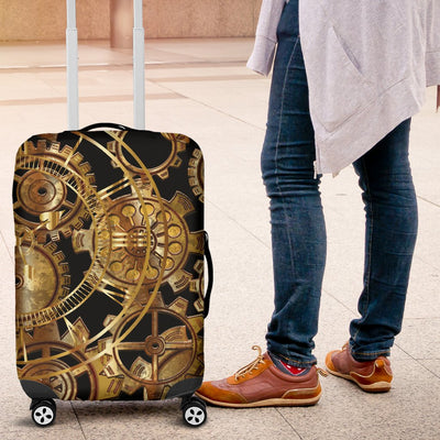 Steampunk Gear Design Themed Print Luggage Cover Protector